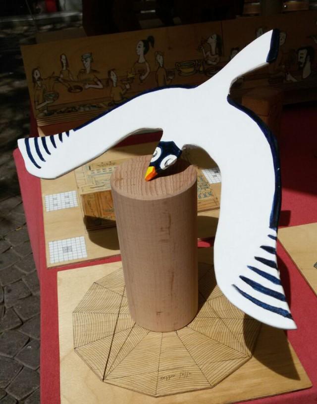 a balancing seagull