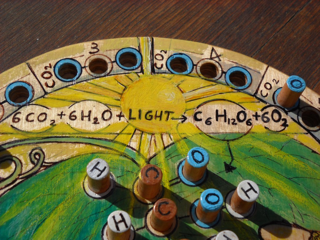 wood table game inspired by photosynthesis