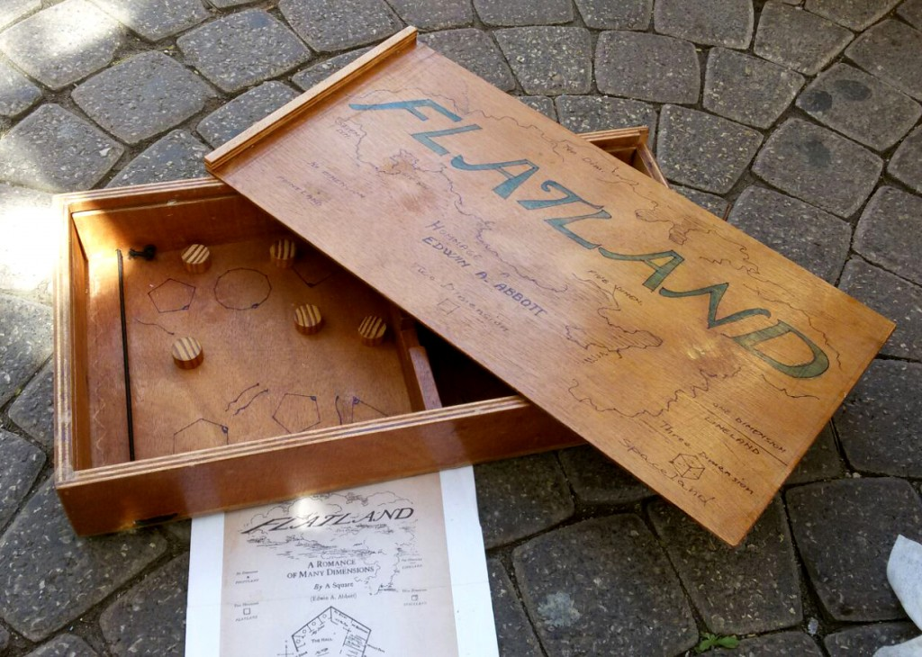 Wood table game box with inside rubber bands to shoot small circles