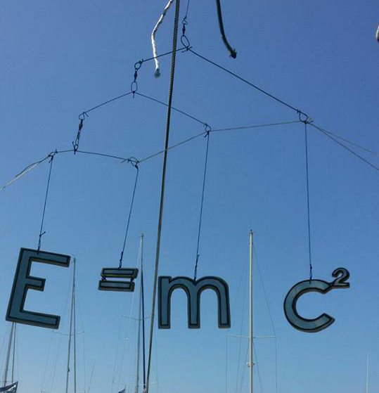 mobile toy showing e=mc2 black and white